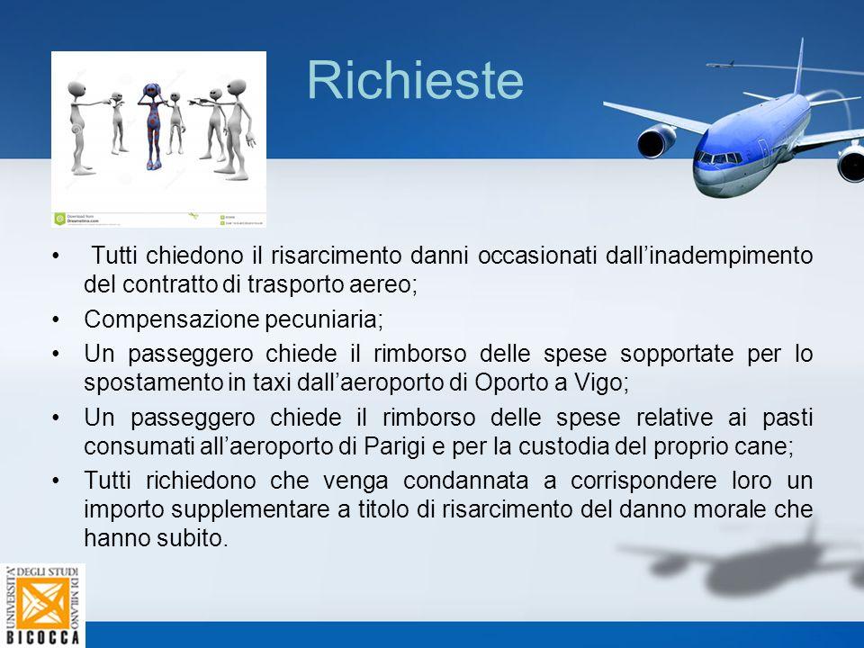 Richieste Tutti chiedono il risarcimento danni occasionati dall'inadempimento del contratto di trasporto aereo; Compensazione pecuniaria; Un passegger