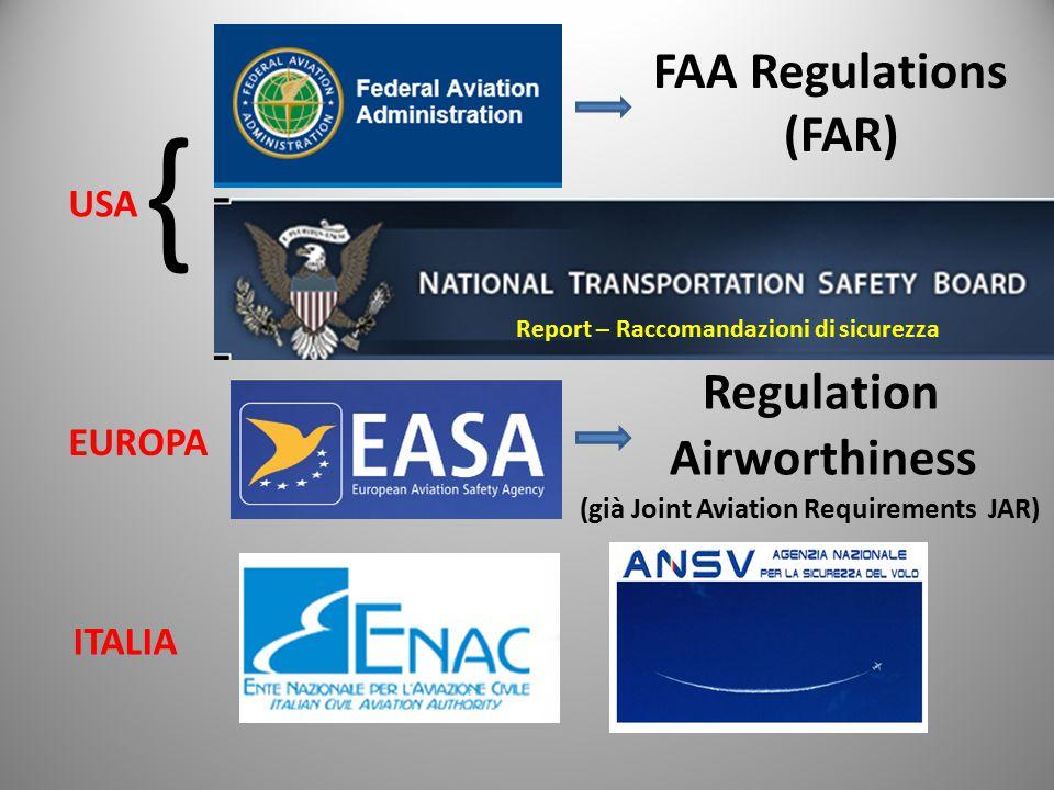 FAA Regulations (FAR) Regulation Airworthiness (già Joint Aviation Requirements JAR) USA EUROPA ITALIA { Report – Raccomandazioni di sicurezza