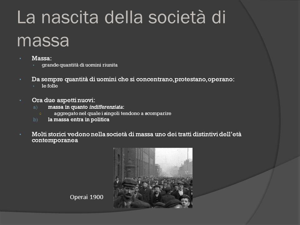 La nascita della società di massa Massa: grande quantità di uomini riunita Da sempre quantità di uomini che si concentrano, protestano, operano: le fo