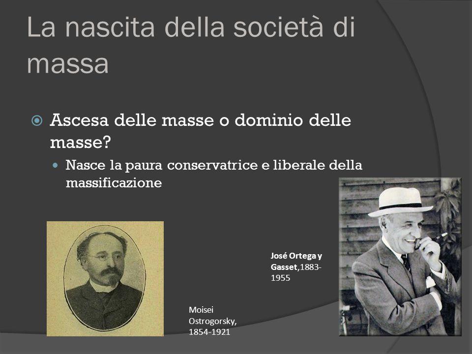 La nascita della società di massa  Ascesa delle masse o dominio delle masse? Nasce la paura conservatrice e liberale della massificazione Moisei Ostr