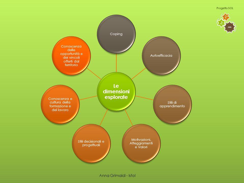 L azio O rie nta S cuo la Progetto SOL Le dimension i esplorate Coping Autoefficacia Stili di apprendimento Motivazioni, Atteggiamenti e Valori Stili decisionali e progettuali Conoscenza e cultura della formazione e del lavoro Conoscenza delle opportunità e dei vincoli offerti dal territorio Anna Grimaldi - Isfol
