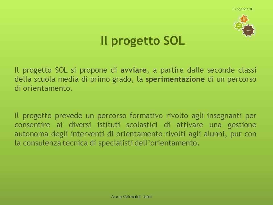 Il progetto SOL Il progetto SOL si propone di avviare, a partire dalle seconde classi della scuola media di primo grado, la sperimentazione di un percorso di orientamento.