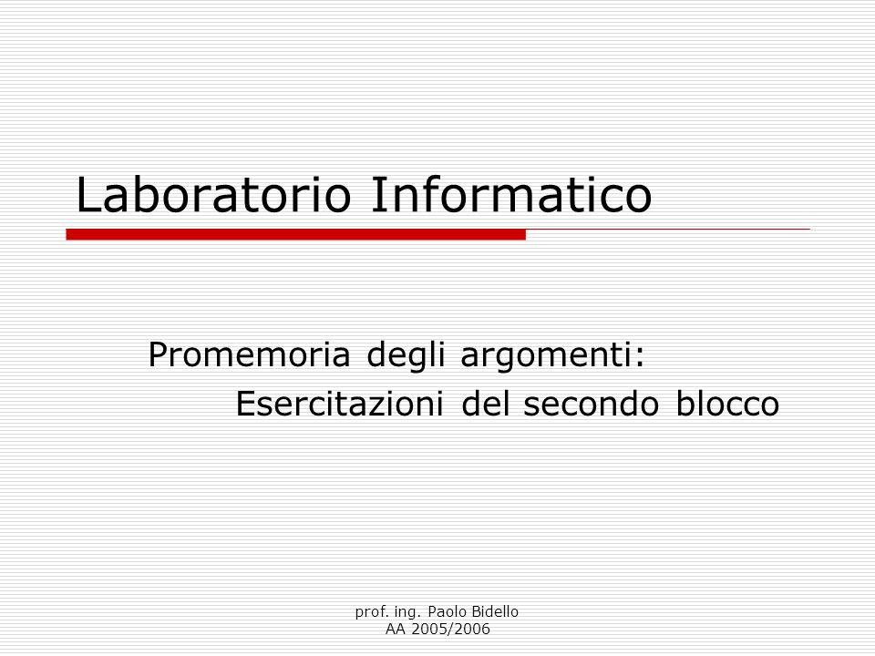 prof. ing. Paolo Bidello AA 2005/2006 Laboratorio Informatico Promemoria degli argomenti: Esercitazioni del secondo blocco