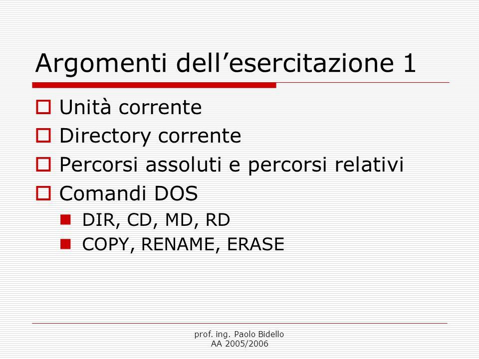 prof. ing. Paolo Bidello AA 2005/2006 Argomenti dell'esercitazione 1  Unità corrente  Directory corrente  Percorsi assoluti e percorsi relativi  C