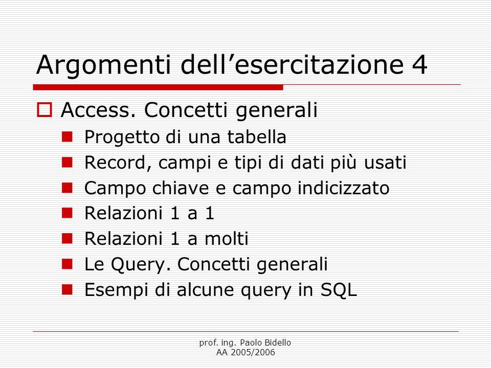 prof. ing. Paolo Bidello AA 2005/2006 Argomenti dell'esercitazione 4  Access. Concetti generali Progetto di una tabella Record, campi e tipi di dati