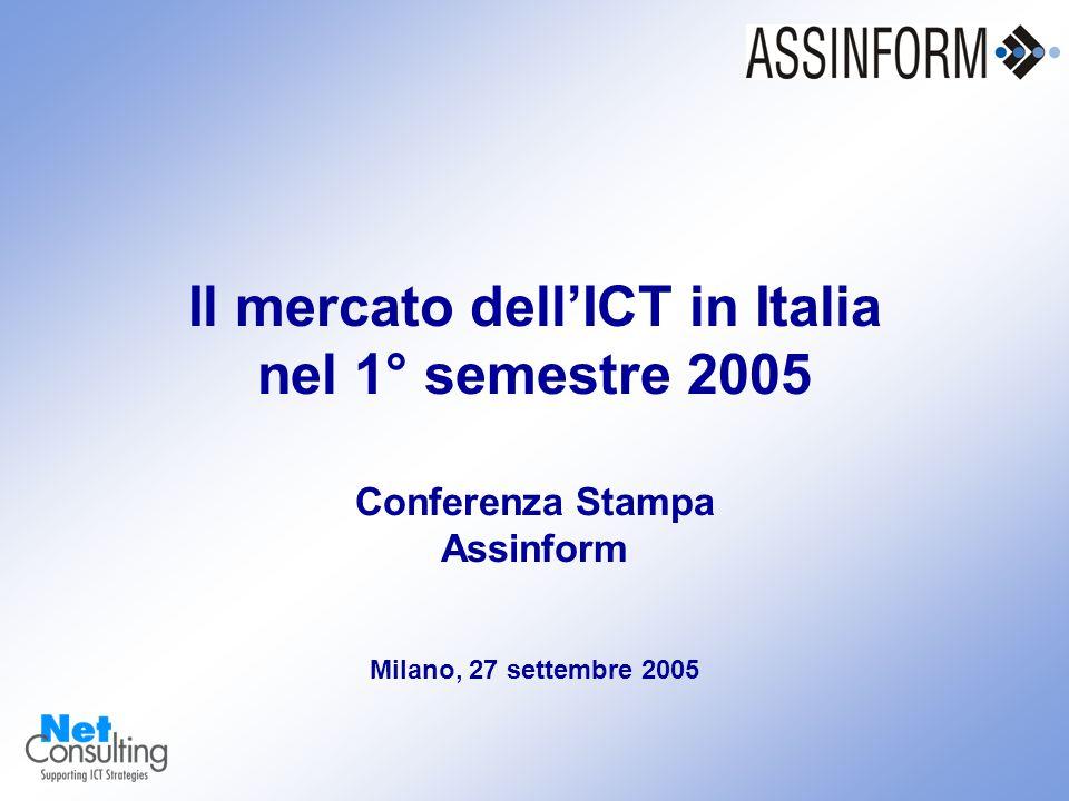 Il mercato dell'ICT in Italia nel 1° semestre 2005 Conferenza Stampa Assinform 27 settembre 2005 – Slide 0 Il mercato dell'ICT in Italia nel 1° semestre 2005 Conferenza Stampa Assinform Milano, 27 settembre 2005