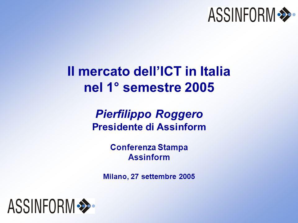 Il mercato dell'ICT in Italia nel 1° semestre 2005 Conferenza Stampa Assinform 27 settembre 2005 – Slide 1 Il mercato dell'ICT in Italia nel 1° semestre 2005 Pierfilippo Roggero Presidente di Assinform Conferenza Stampa Assinform Milano, 27 settembre 2005