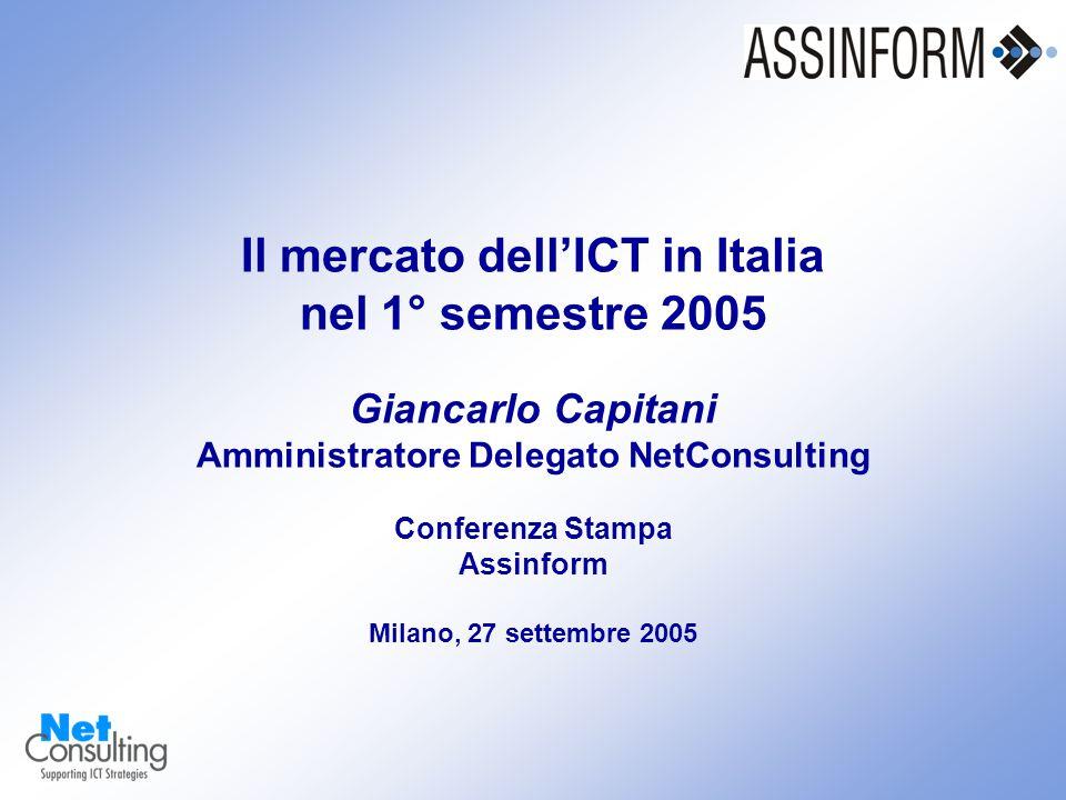 Il mercato dell'ICT in Italia nel 1° semestre 2005 Conferenza Stampa Assinform 27 settembre 2005 – Slide 8 Il mercato dell'ICT in Italia nel 1° semestre 2005 Giancarlo Capitani Amministratore Delegato NetConsulting Conferenza Stampa Assinform Milano, 27 settembre 2005