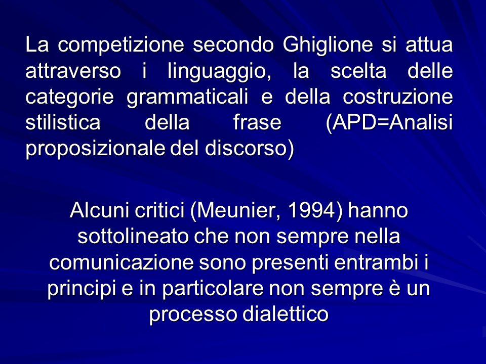La competizione secondo Ghiglione si attua attraverso i linguaggio, la scelta delle categorie grammaticali e della costruzione stilistica della frase
