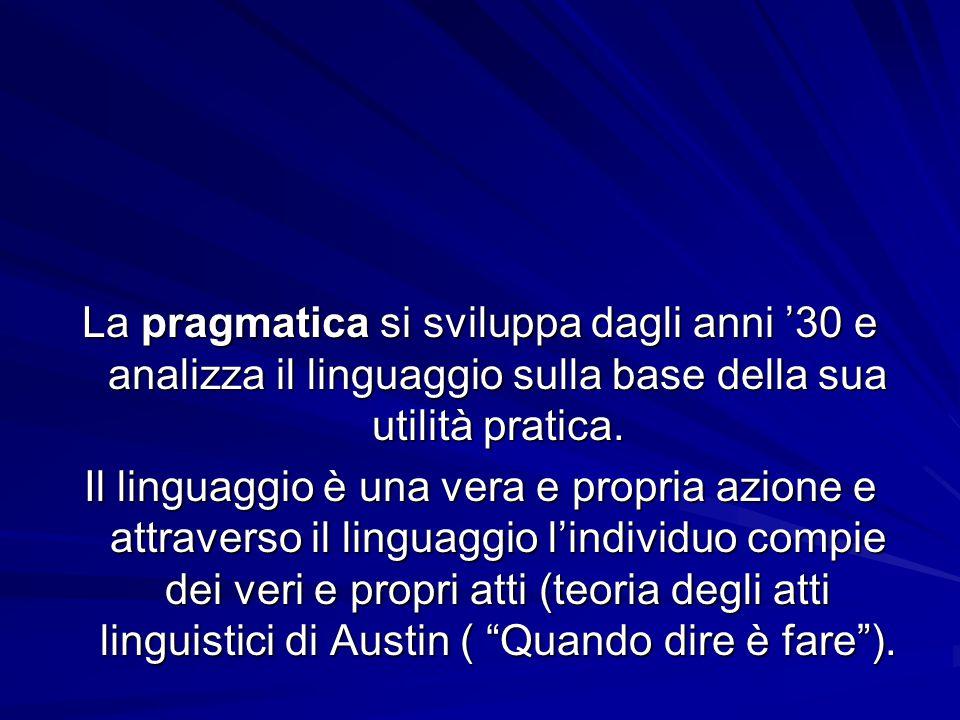 La pragmatica si sviluppa dagli anni '30 e analizza il linguaggio sulla base della sua utilità pratica. Il linguaggio è una vera e propria azione e at