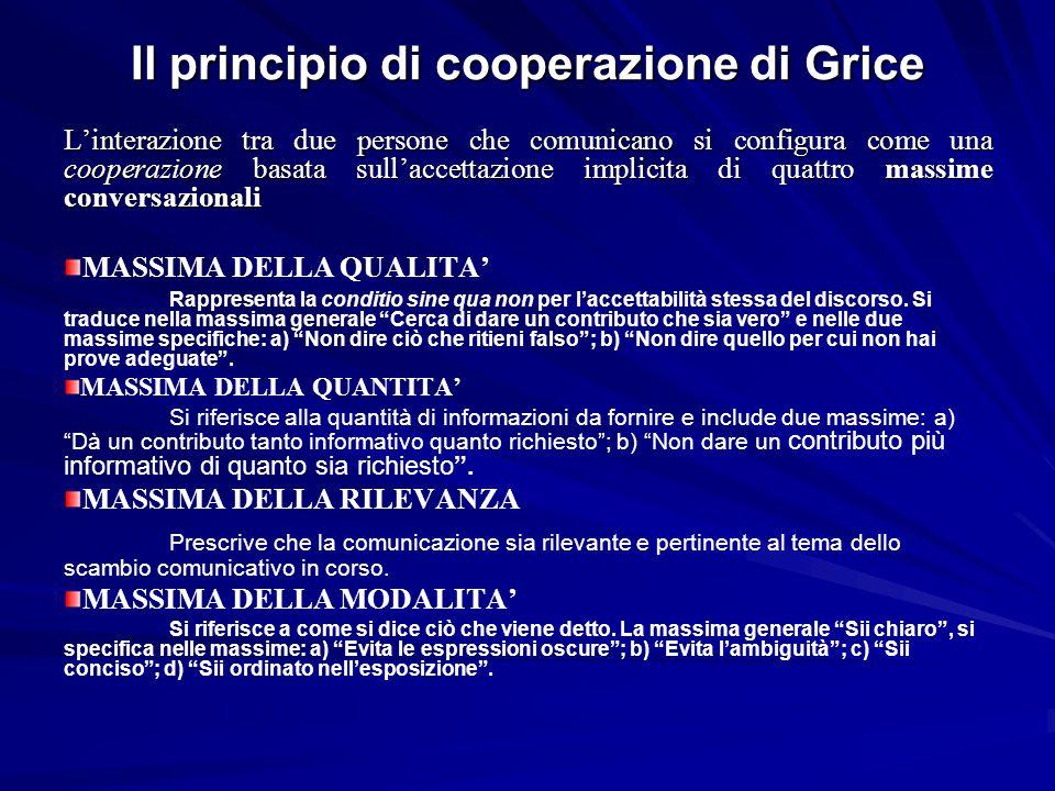 Il principio di cooperazione di Grice L'interazione tra due persone che comunicano si configura come una cooperazione basata sull'accettazione implici