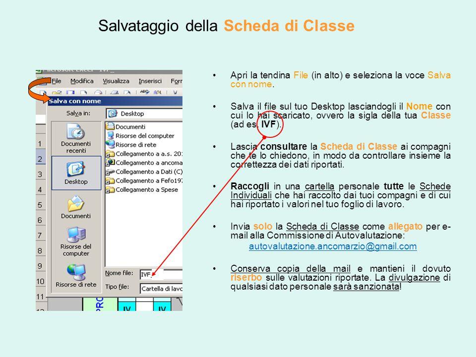 Salvataggio della Scheda di Classe Apri la tendina File (in alto) e seleziona la voce Salva con nome. Salva il file sul tuo Desktop lasciandogli il No