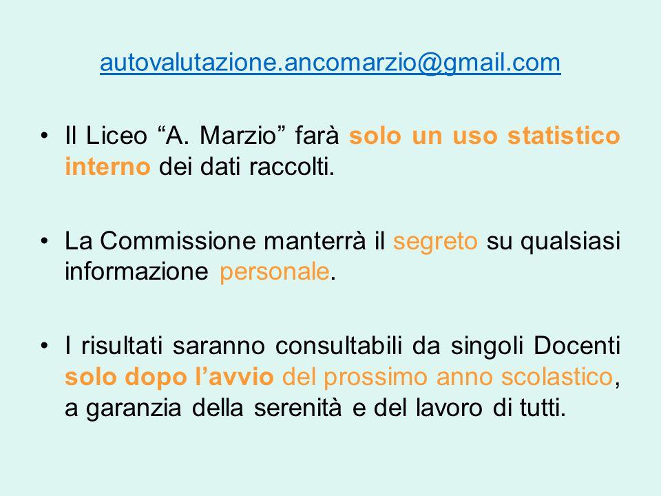 """autovalutazione.ancomarzio@gmail.com Il Liceo """"A. Marzio"""" farà solo un uso statistico interno dei dati raccolti. La Commissione manterrà il segreto su"""