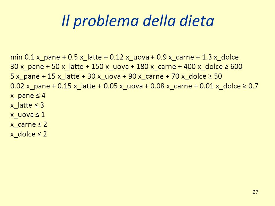 27 Il problema della dieta min 0.1 x_pane + 0.5 x_latte + 0.12 x_uova + 0.9 x_carne + 1.3 x_dolce 30 x_pane + 50 x_latte + 150 x_uova + 180 x_carne +
