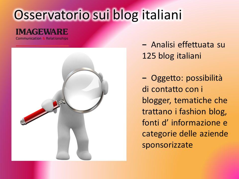 − Analisi effettuata su 125 blog italiani − Oggetto: possibilità di contatto con i blogger, tematiche che trattano i fashion blog, fonti d' informazione e categorie delle aziende sponsorizzate