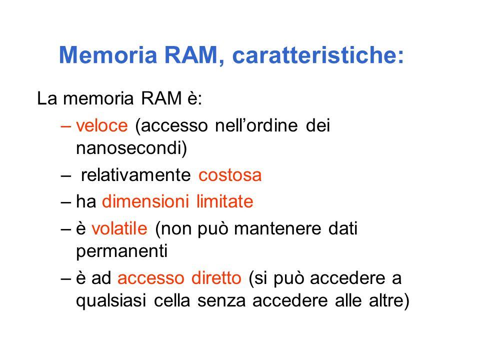 Memoria RAM, caratteristiche: La memoria RAM è: –veloce (accesso nell'ordine dei nanosecondi) – relativamente costosa –ha dimensioni limitate –è volatile (non può mantenere dati permanenti –è ad accesso diretto (si può accedere a qualsiasi cella senza accedere alle altre)