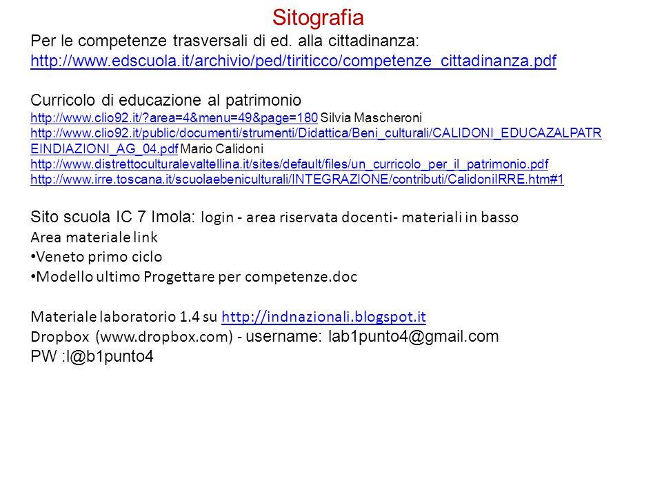 Sitografia Per le competenze trasversali di ed.