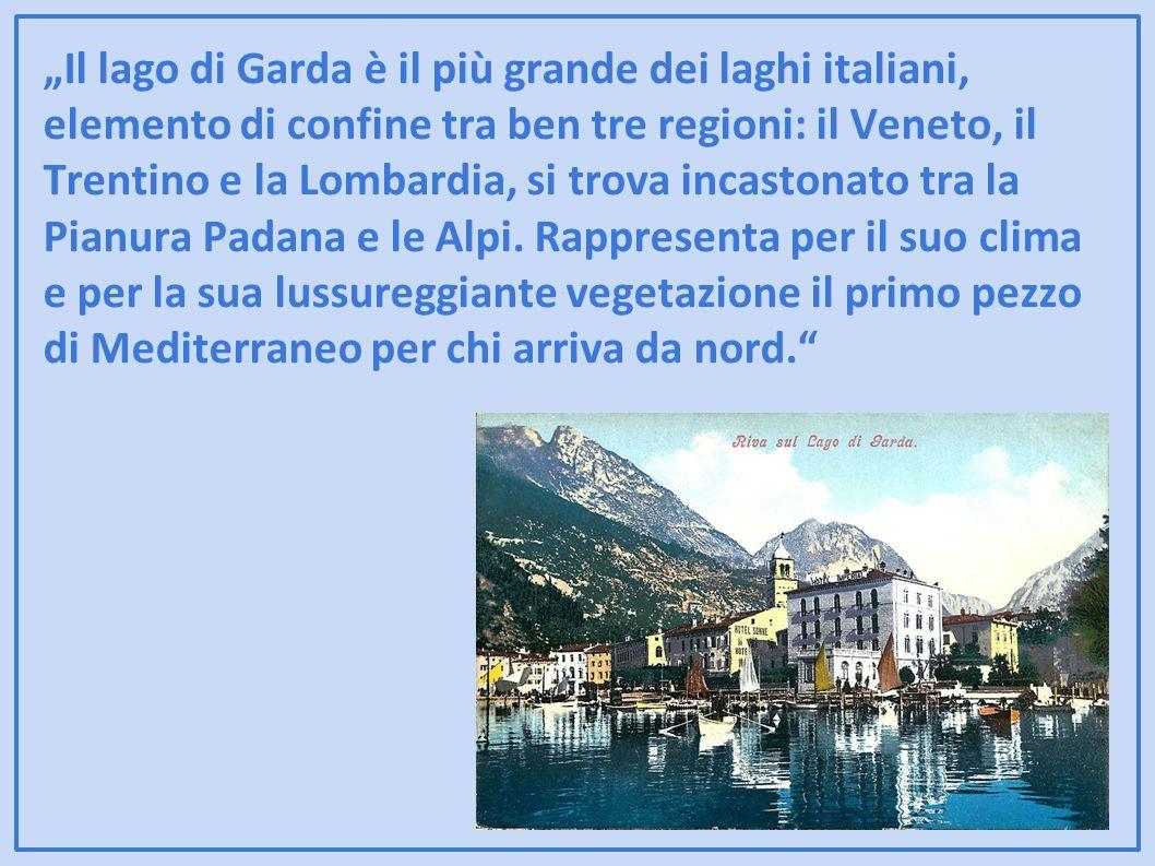 """""""Il lago di Garda è il più grande dei laghi italiani, elemento di confine tra ben tre regioni: il Veneto, il Trentino e la Lombardia, si trova incastonato tra la Pianura Padana e le Alpi."""