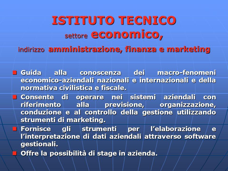 ISTITUTO TECNICO settore economico, indirizzo amministrazione, finanza e marketing Guida alla conoscenza dei macro-fenomeni economico-aziendali nazionali e internazionali e della normativa civilistica e fiscale.