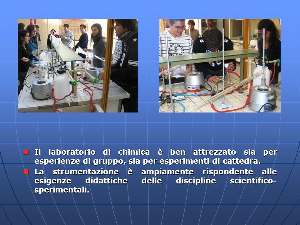 Il laboratorio di chimica è ben attrezzato sia per esperienze di gruppo, sia per esperimenti di cattedra.