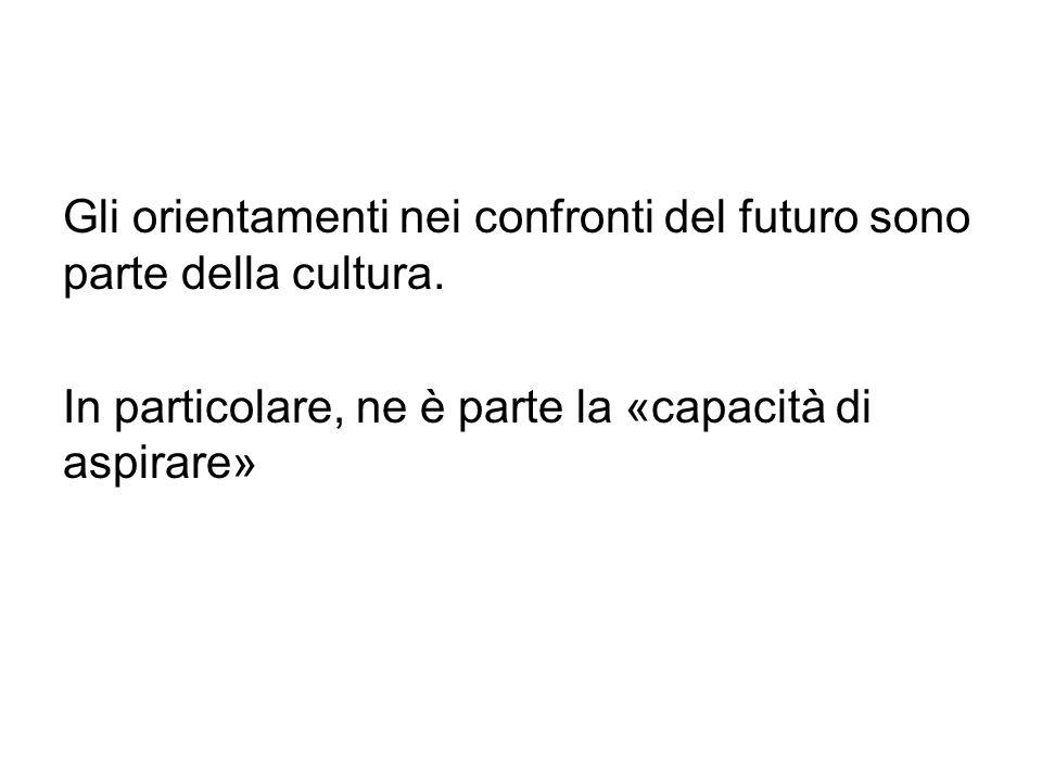 Gli orientamenti nei confronti del futuro sono parte della cultura. In particolare, ne è parte la «capacità di aspirare»