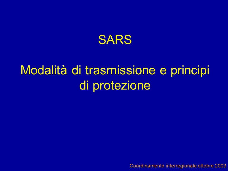 Coordinamento interregionale ottobre 2003 SARS Modalità di trasmissione e principi di protezione