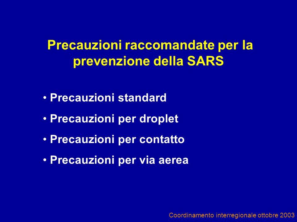 Coordinamento interregionale ottobre 2003 Precauzioni raccomandate per la prevenzione della SARS Precauzioni standard Precauzioni per droplet Precauzioni per contatto Precauzioni per via aerea