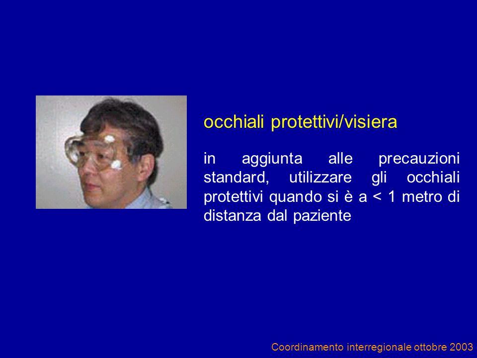 Coordinamento interregionale ottobre 2003 occhiali protettivi/visiera in aggiunta alle precauzioni standard, utilizzare gli occhiali protettivi quando si è a < 1 metro di distanza dal paziente