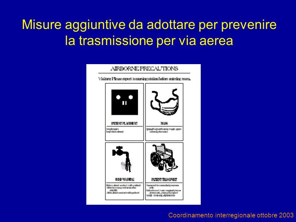 Coordinamento interregionale ottobre 2003 Misure aggiuntive da adottare per prevenire la trasmissione per via aerea