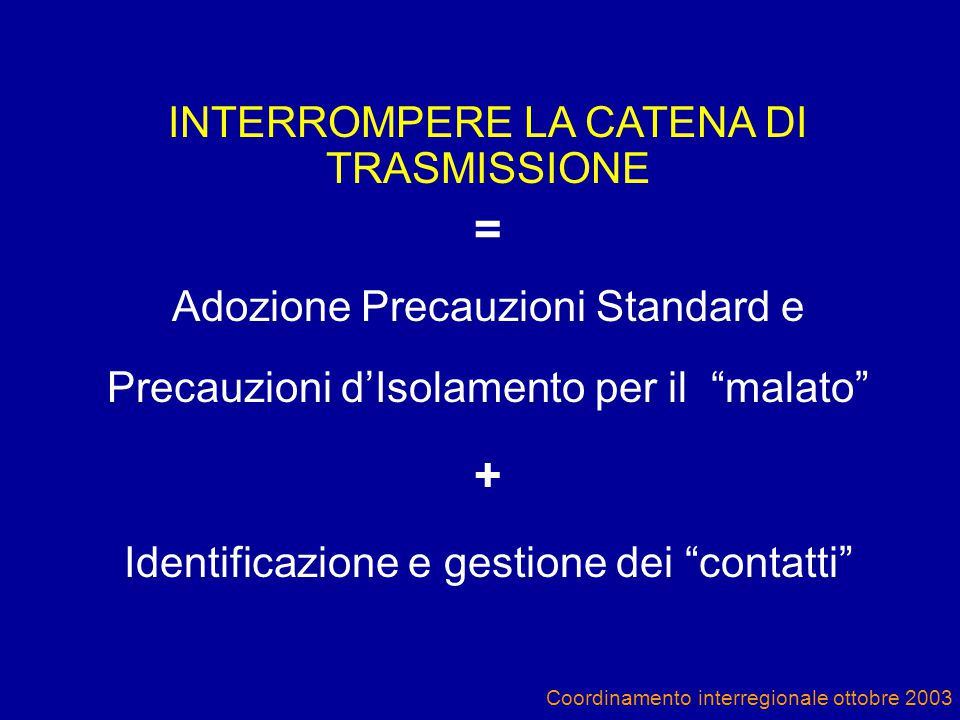 Coordinamento interregionale ottobre 2003 INTERROMPERE LA CATENA DI TRASMISSIONE = Adozione Precauzioni Standard e Precauzioni d'Isolamento per il malato + Identificazione e gestione dei contatti