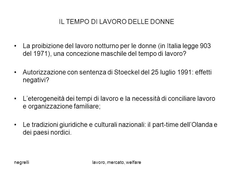negrellilavoro, mercato, welfare IL TEMPO DI LAVORO DELLE DONNE La proibizione del lavoro notturno per le donne (in Italia legge 903 del 1971), una concezione maschile del tempo di lavoro.