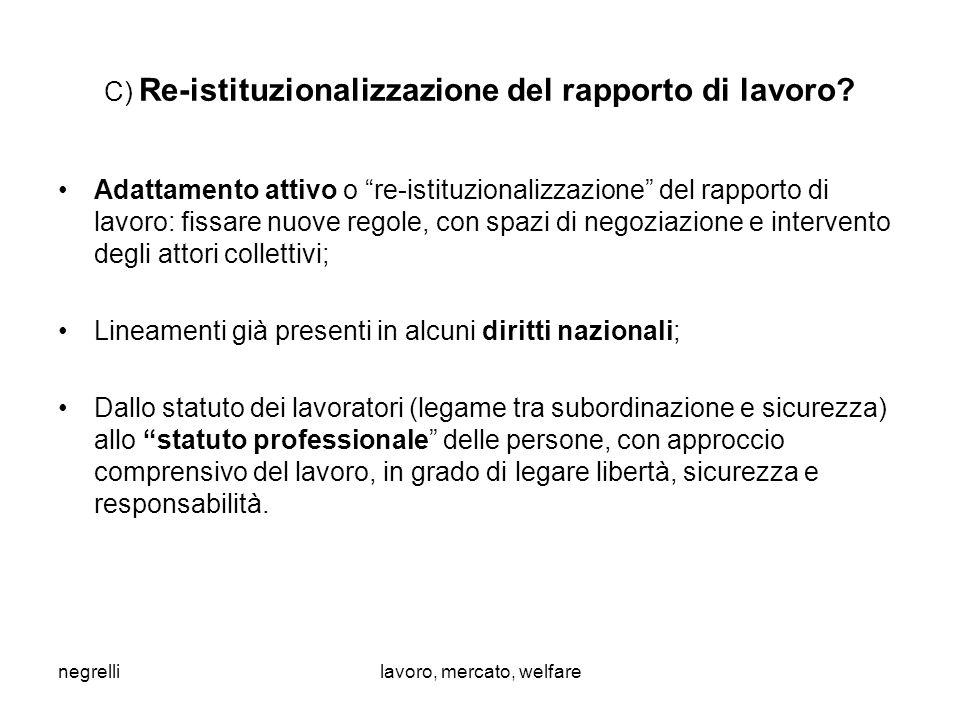 negrellilavoro, mercato, welfare C) Re-istituzionalizzazione del rapporto di lavoro.