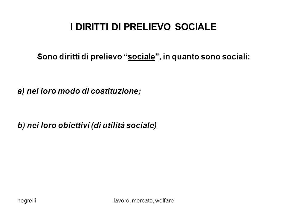 negrellilavoro, mercato, welfare I DIRITTI DI PRELIEVO SOCIALE Sono diritti di prelievo sociale , in quanto sono sociali: a) nel loro modo di costituzione; b) nei loro obiettivi (di utilità sociale)