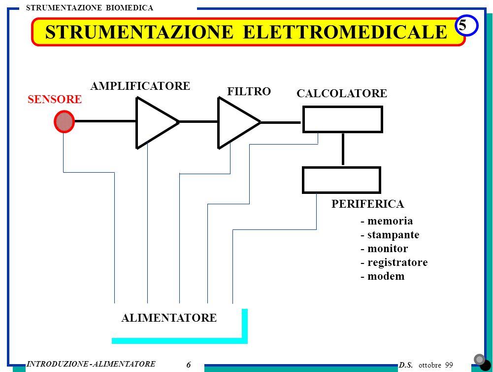 D.S. ottobre 99 INTRODUZIONE - ALIMENTATORE STRUMENTAZIONE BIOMEDICA 6 STRUMENTAZIONE ELETTROMEDICALE 5 SENSORE PERIFERICA AMPLIFICATORE FILTRO CALCOL