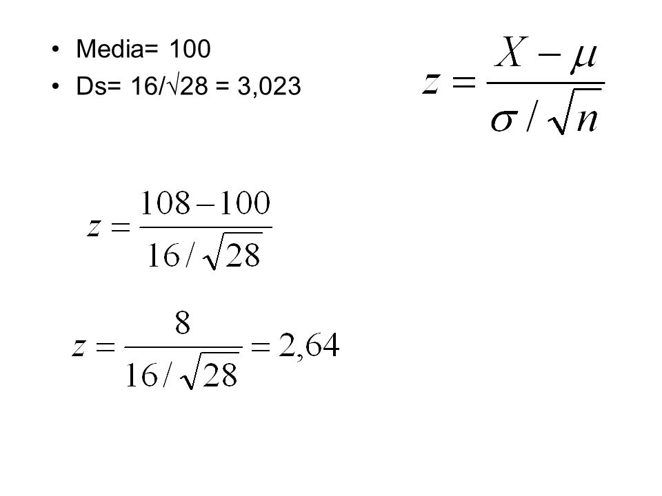 Media= 100 Ds= 16/√28 = 3,023