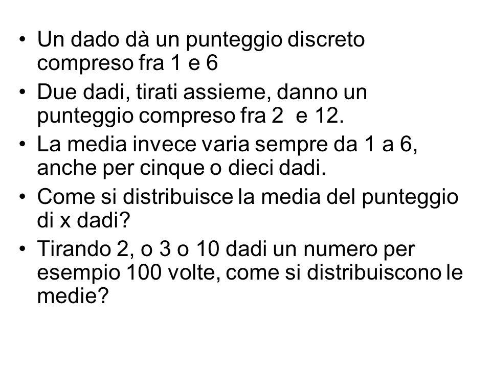 Un dado dà un punteggio discreto compreso fra 1 e 6 Due dadi, tirati assieme, danno un punteggio compreso fra 2 e 12. La media invece varia sempre da