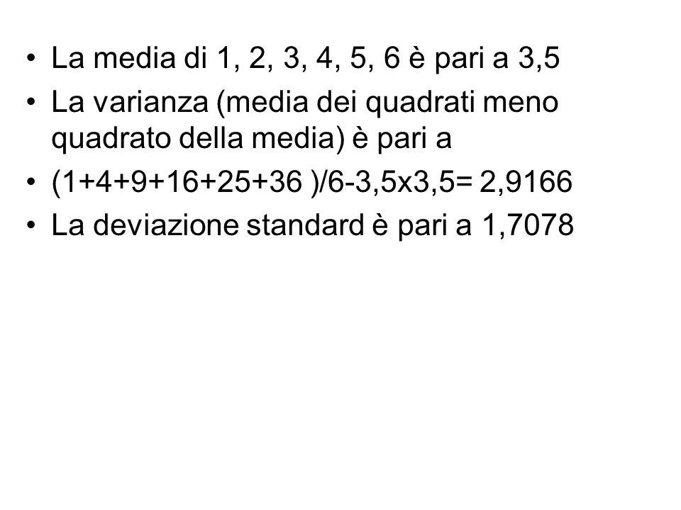 La media di 1, 2, 3, 4, 5, 6 è pari a 3,5 La varianza (media dei quadrati meno quadrato della media) è pari a (1+4+9+16+25+36 )/6-3,5x3,5= 2,9166 La d