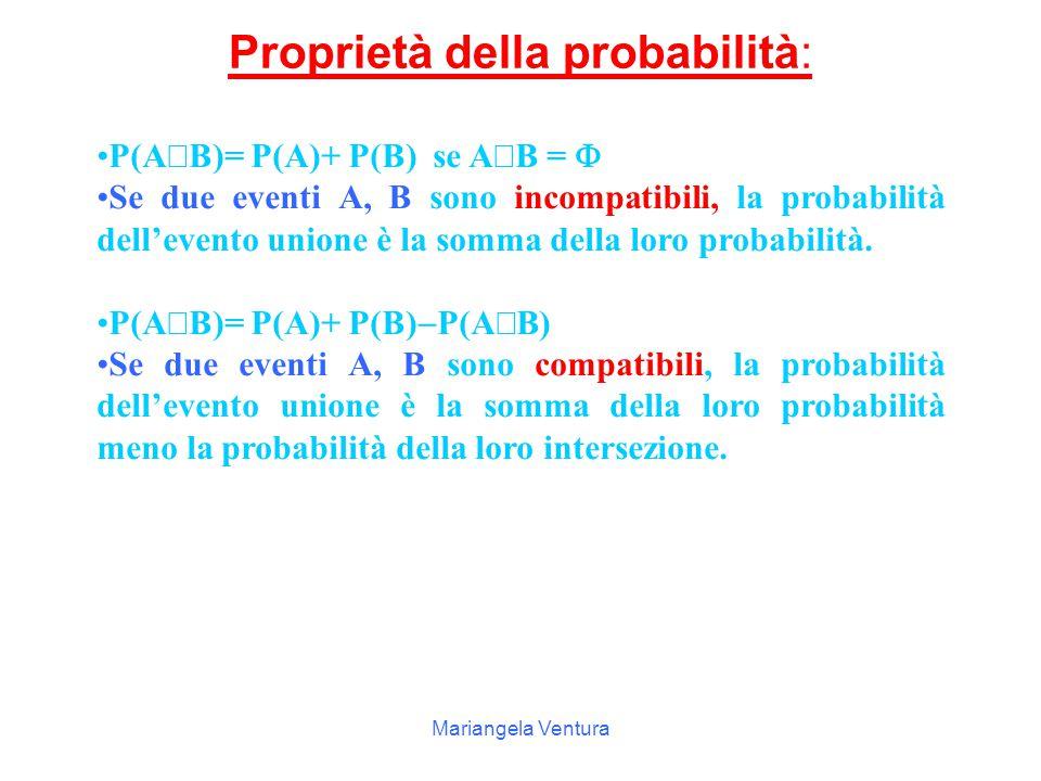 Mariangela Ventura Regola se A e B sono due eventi che si intersecano per uno o più eventi elementari, cioè sono eventi compatibili, nel conteggio dei casi di A  B occorre fare attenzione a contare una volta sola gli eventi in comune.