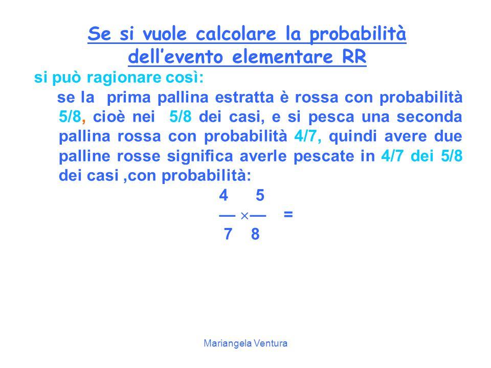 Mariangela Ventura Spiegazione Nella seconda estrazione bisogna distinguere due casi, a seconda che nella prima sia uscita una pallina rossa o nera, in quanto nell'urna c'è una pallina in meno.