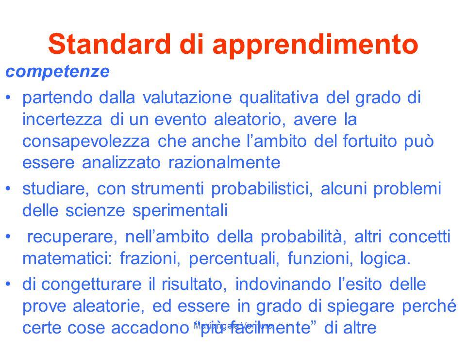 Mariangela Ventura Standard di apprendimento abilità Distinguere un evento semplice da uno composto ed individuare gli eventi semplici che lo costitui