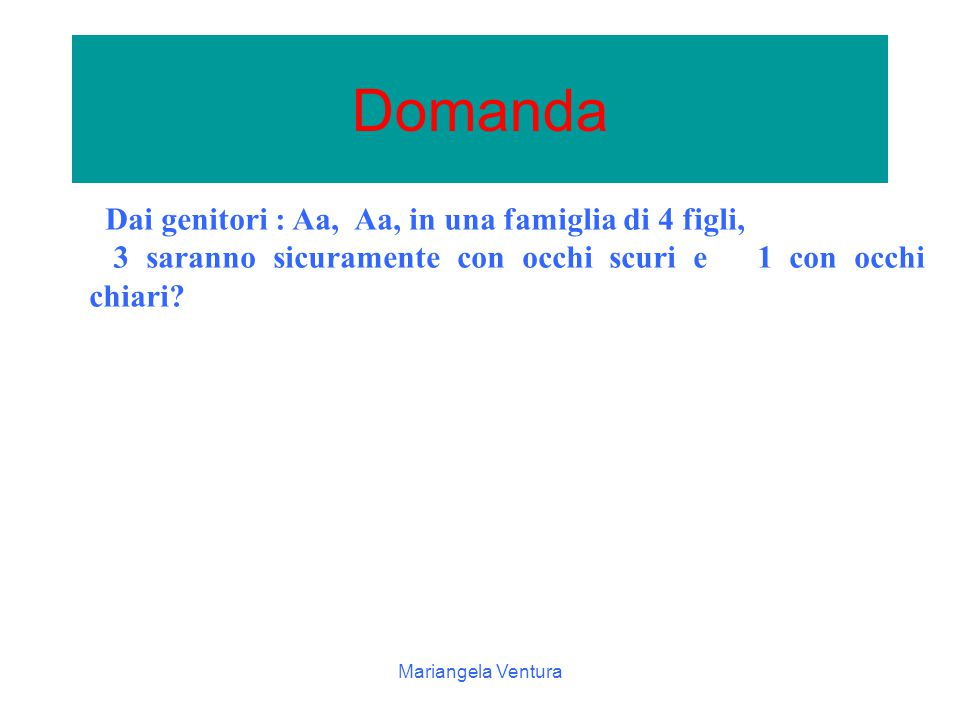 Mariangela Ventura padre A a ½ 1/2 a a madre Aa Aa aa aa Gli eventi elementari possibili sono: Aa, Aa, aa, aa, la probabilit à per ciascun evento elementare di 1/2  1/2=1/4 la probabilit à 1/2 che un figlio abbia occhi scuri (Aa) la probabilit à 1/2 occhi chiari(aa ).