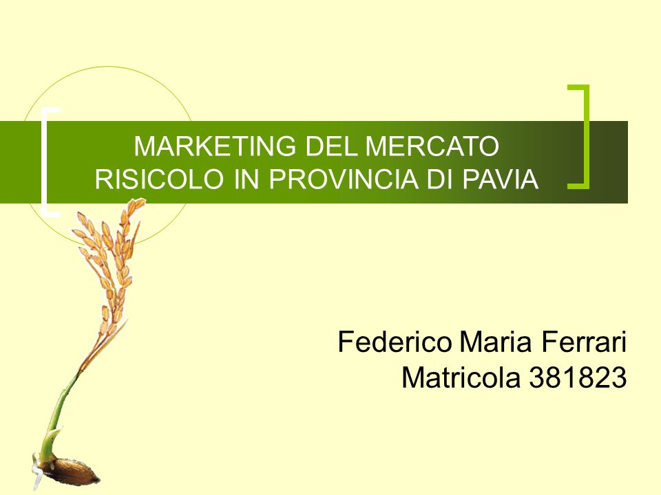 MARKETING DEL MERCATO RISICOLO IN PROVINCIA DI PAVIA Federico Maria Ferrari Matricola 381823