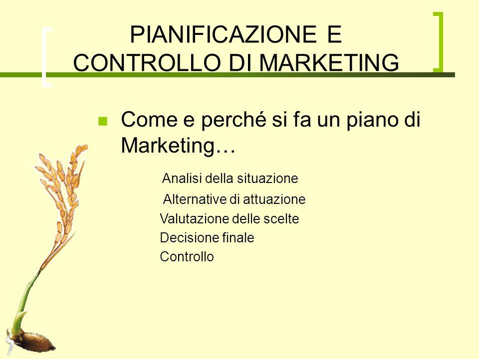 PIANIFICAZIONE E CONTROLLO DI MARKETING Come e perché si fa un piano di Marketing… Analisi della situazione Alternative di attuazione Valutazione dell