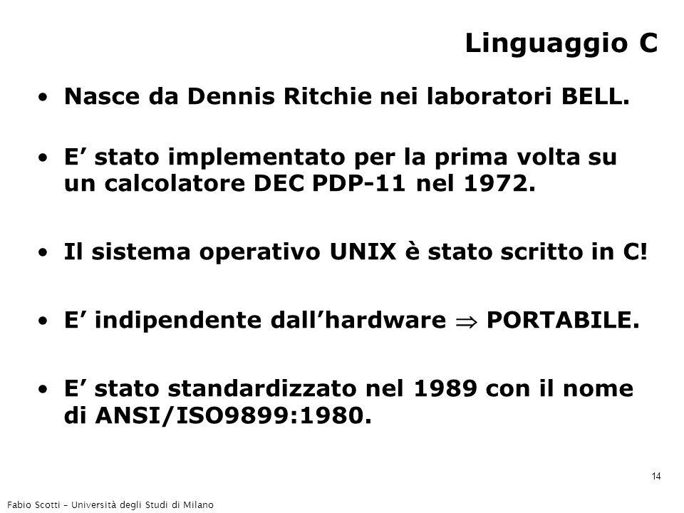 Fabio Scotti – Università degli Studi di Milano 14 Linguaggio C Nasce da Dennis Ritchie nei laboratori BELL. E' stato implementato per la prima volta
