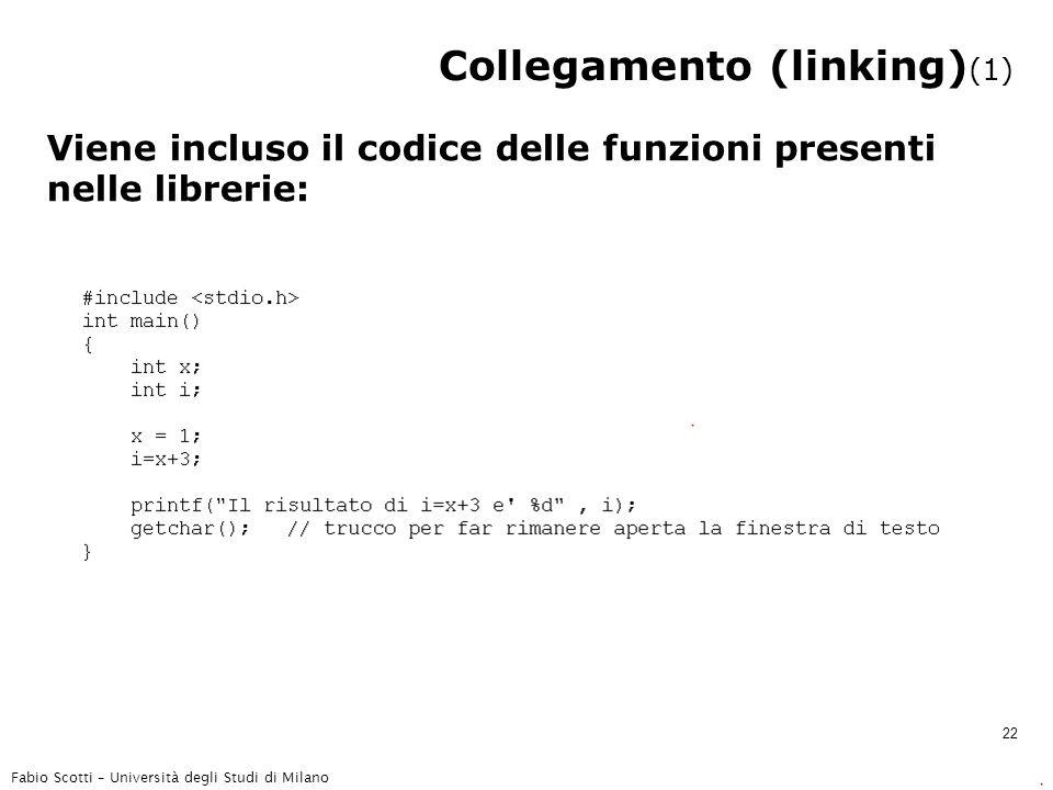 Fabio Scotti – Università degli Studi di Milano 22 Collegamento (linking) (1) Viene incluso il codice delle funzioni presenti nelle librerie: