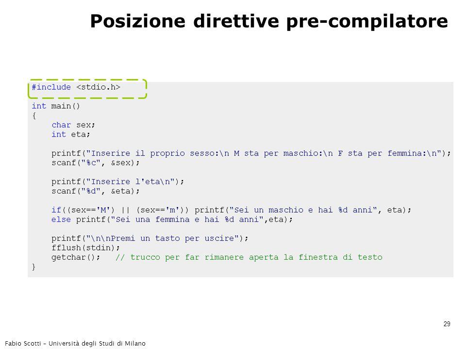 Fabio Scotti – Università degli Studi di Milano 29 Posizione direttive pre-compilatore