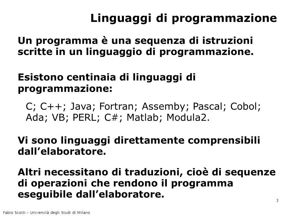 Fabio Scotti – Università degli Studi di Milano 3 Linguaggi di programmazione Un programma è una sequenza di istruzioni scritte in un linguaggio di programmazione.