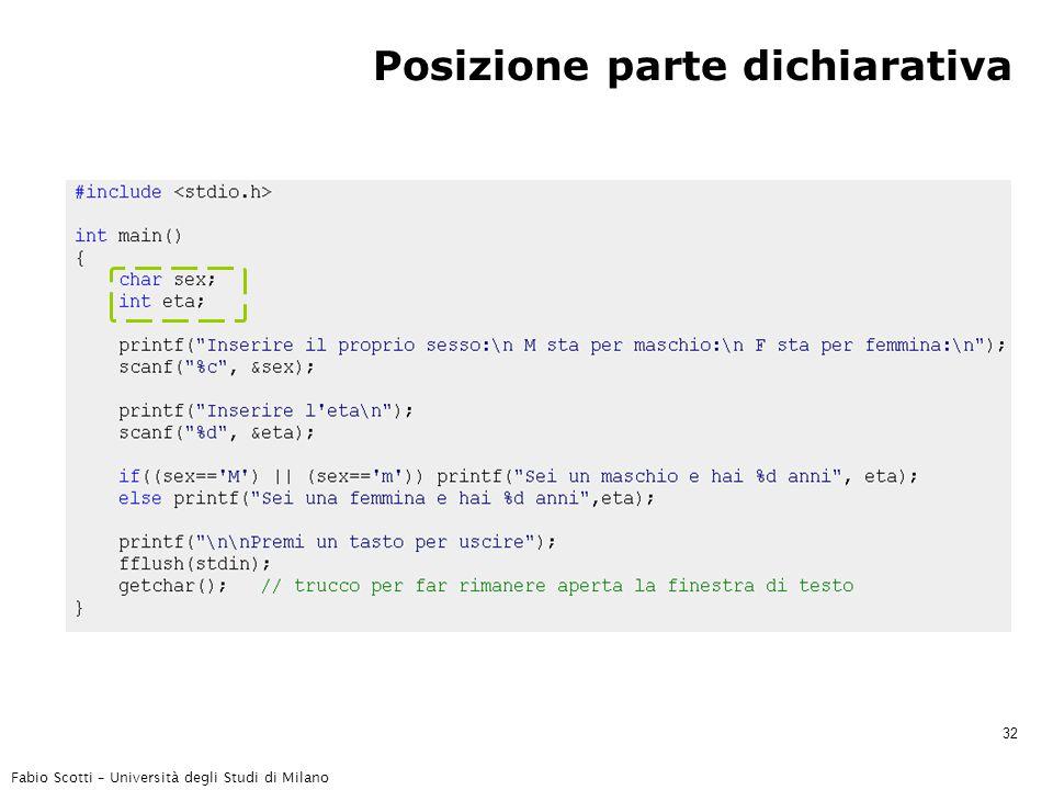 Fabio Scotti – Università degli Studi di Milano 32 Posizione parte dichiarativa