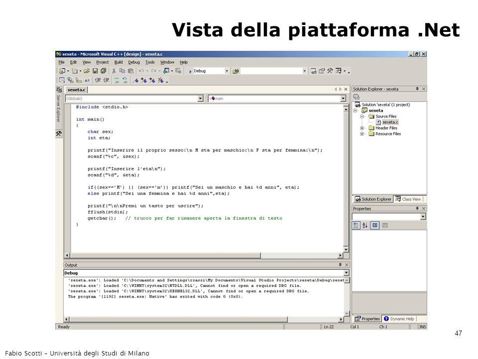 Fabio Scotti – Università degli Studi di Milano 47 Vista della piattaforma.Net