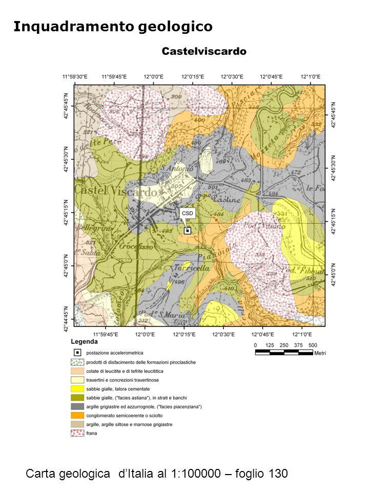 Inquadramento geologico Carta geologica d'Italia al 1:100000 – foglio 130